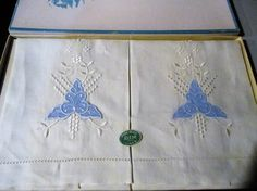 Pair Pure Irish Linen Guest Hand Towels By Ritze Embroidered And Appliqued NIP by GwensHaberdashery on Etsy
