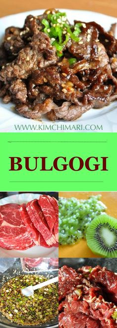 The classic Korean Bulgogi. Best if cooked over a open fire or grill; nothing shows off Korean BBQ better! See tips and recipe @ | Kimchimari.com - 1 Tbs kiwi instead of pear also works!