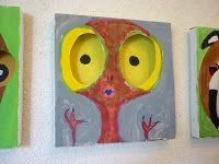 Gesichter auf Pizzakarton II   Kunst im Schulhaus Rosenau