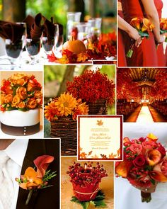 Collage of cranberry red for fall wedding