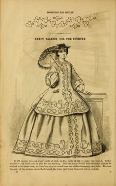 Fancy Paletot for the country, Godey's lady's book 1863 civil war era fashion