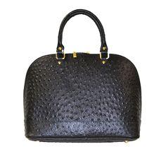 Caracol - Inspired Jewelry and Handbags - Italian Calfskin Leather Ostrich Print Handbag by Moda Italian Leather Handbags, Stylish Handbags, How To Make Handbags, Purses, Inspired, Black, Jewelry, Design, Fashion