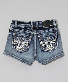 Look what I found on #zulily! Rodeo Girl by Liz Light Wash Rhinestone Cross Denim Shorts - Girls by Rodeo Girl by Liz #zulilyfinds