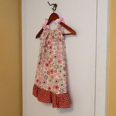 Pillowcase Dress   Snowflakes and Dots  made by sewingdreamskids, $19.95