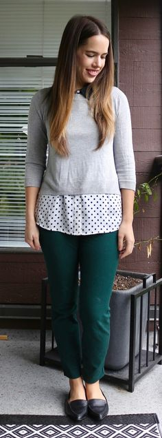 Jules in Flats - Cropped Sweater over Polka Dot Blouse