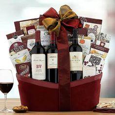 Wine Gift Baskets - Deluxe Wine Gift Basket Wine Gift Baskets, Wine Gifts, Wine Rack, Wines, Holiday Gifts, Treats, Snacks, How To Make, Gourmet