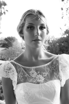 Margharette Gown by When Freddie met Lilly. www.whenfreddiemetlilly.com.au whenfreddiemetlilly@ gmail.com INSTAGRAM #whenfreddiemetlilly Chain Headpiece, Headpiece Wedding, Bridal Headpieces, Headdress, Jewelry Patterns, Blue Beads, Hair Jewelry, Bridal Collection, Hair Pieces