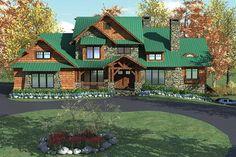 Rustic Mountain Home Plan With 2 Kitchens - thumb - 01 Lake House Plans, Mountain House Plans, Craftsman House Plans, Dream House Plans, House Floor Plans, Architectural Design House Plans, Architecture Design, Sims 4, European Plan