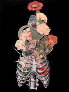 """bone bouquet"" anatomical collage art by Travis Bedel"