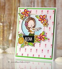 Wanda Guess: A Blog Called Wanda – A little Aloha on a Monday! MFT Sketch Challenge #241 - 8/17/15.  (MFT stamps/dies: Polynesian Paradise; stamps - Pineapple Background).  (Pin#1: Dies/Stamps: MFT. Pin+: Hello; Summer Fun).