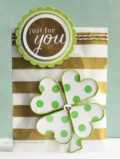 Card by Heather Pulvirenti. Reverse Confetti stamp set: Roundabout. Confetti Cuts: Circles 'n Scallops. St Patricks day.