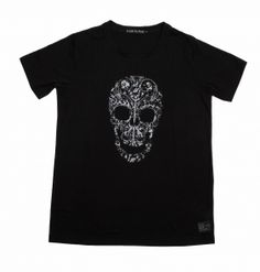 B-side SKULLY CREW NECK TEE BLACK £42.00