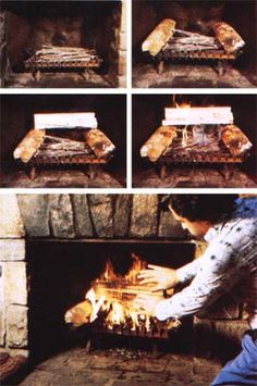 There's a right way and a wrong way to build a fireplace fire . . . and the difference can mean an increase in efficiency of 100%!