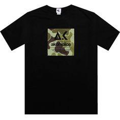 Akomplice Camo Box Logo tshirt in black and green camo