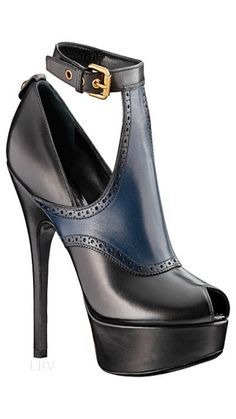Louis Vuitton Dark Blue and Black Ankle Boots 2014 #Shoes #Heels