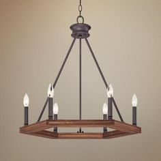 Image result for quoizel chandelier with six-sided wood base