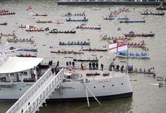 Southbank of the River Thames adjacent to HMS Belfast. Picture: LA(Phot)Jason Ballard    Shows the rowers of the Breakfast Show prior to the Queens Diamond Jubilee River Pageant in the final leg as they come alongside HMS Belfast before transiting the Tower Bridge
