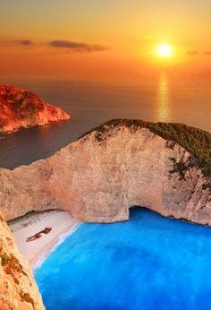 Sunset in Shipwreck Beach, Ionian Islands Greece