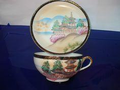 taza de té y plato, de porcelana cáscara de huevo