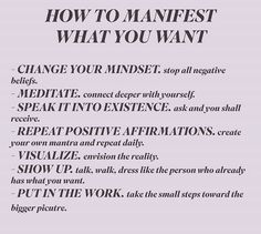 Steps to manifesting what you want 💫💫💫 Positive Affirmations Quotes, Affirmation Quotes, Positive Quotes, Positive Mindset, Spiritual Manifestation, Manifestation Journal, Manifestation Law Of Attraction, Law Of Attraction Quotes, Motivacional Quotes