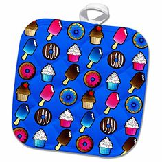 3dRose Janna Salak Designs Sweet Treats - Sweet Treat Print - Donut Ice Cream Cupcake - on Blue - 8x8 Potholder (phl_43218_1) >>> Read more reviews of the product by visiting the link on the image.