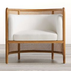 Fields Cane Back White Accent Chair by Leanne Ford + Reviews | Crate and Barrel White Accent Chair, Black And White Chair, Accent Chairs, White Chairs, Cane Furniture, Unique Furniture, Custom Furniture, Rattan Furniture, Furniture Design