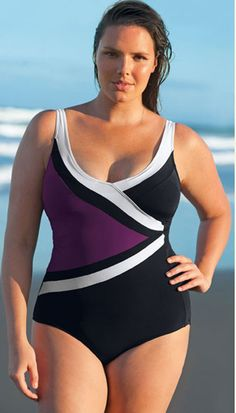Flattering Swimsuit Style for Plus Sizes - READ ARTICLE BY CLICKING HERE: http://boomerinas.com/2013/03/swimsuits-for-plus-size-apple-pear-hourglass-body-types/
