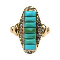 A beautiful Victorian era Turquoise ring, most likely made around 1875 in 18ky gold. This ring is a beautiful example of Victorian Turquoise Jewelry.