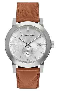 29e4d0533 Burberry Check Stamped Leather Strap Watch, 42mm available at #Nordstrom  The Curated Closet,