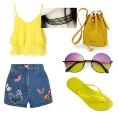 """""""Untitled #390"""" by giselaturca on Polyvore featuring Havaianas, Glamorous, Valentino, women's clothing, women, female, woman, misses and juniors"""