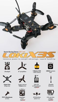 Evolved from the famous Loki-X family, installed with smaller and lighter components to reach a record breaking lightweight Storm Loki-X3S  Ready to Fly Edition with Furious  PIKO Micro  Flight Controller (BetaFlight softw