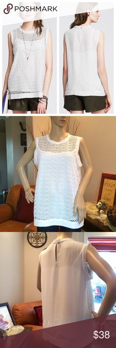"""Banana Republic Lace Front Top Banana Republic Soft crepe shell with lace front. Banded crew neck. Sleeveless. Buttoned keyhole at back neck. Comes with camisole. Solid back. Hits at the hip. $80 Retail. Measures 40"""" bust,  25"""" length. EUC. Banana Republic Tops"""