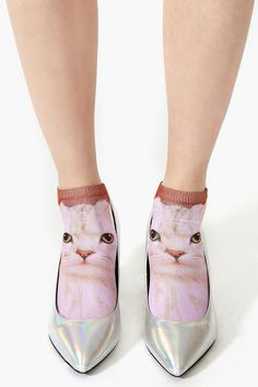 Crazy Cat Lady socks, especially if you wear them like this- love!  LIKE... if they are Creepy!!