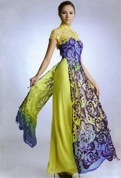 ao dai I'd like less yellow green, more grey-blue-silver. Love the #ao dai| http://aodaivietnamphotos.blogspot.com