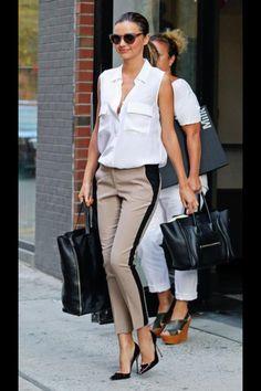 Miranda Kerr in tuxedo pants