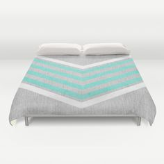 Teal and White Chevron on Silver Grey Wood Duvet Cover