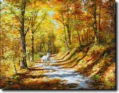 Horse running on sunset lane. Akiane Kramarik prophetic art.