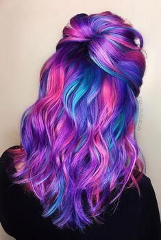 Ombre Rainbow Hair Colors To Try ombre rainbow hair colors; coolest hairs color trends in trendy hairstyles and colors women hair colors; coolest hairs color trends in trendy hairstyles and colors women hair colors; Cute Hair Colors, Pretty Hair Color, Beautiful Hair Color, Hair Color Purple, Hair Dye Colors, Galaxy Hair Color, Elumen Hair Color, Blue And Pink Hair, Bright Hair Colors