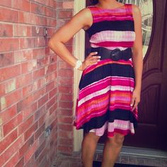 Cute striped dress! New! Beautiful colorful dress! So comfy! Polyester with lining, belt not included Julian Taylor Dresses