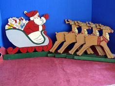 Yard Art - Santa Claus And Reindeer Plywood Cut Outs Plaques Or Yard Decorations