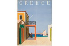 Greece Poster:1948 travel poster advertised the charms of Greece to would-be holiday revelers in the postwar years. Trowbridge is known for its superior fine-art and antique prints,  in elegant handmade frames. All frames are hand-finished by craftsmen, many of them echoing early Dutch, Italian and English designs. Carefully antiqued materials are used to capture the warmth of the original 17th, 18th and 19th-century prints in its fine-art reproductions.