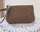 Tooled Faux Leather Vegan Smart phone Case Gadget Pouch Clutch Wristlet Zipper Gadget Purse - pinned by pin4etsy.com