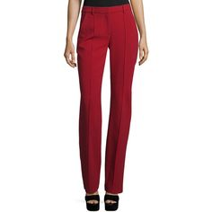 Adam Lippes Straight-Leg Tuxedo Pants ($850) ❤ liked on Polyvore featuring pants, claret, women's apparel pants, adam, red pants, straight leg pants, red trousers and tuxedo trousers