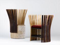 Wine & Design Collection Fauteuil par Enzo Pascual. Mobilier conçu à partir du bois de barriques de vin.