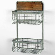 Beautiful industrial style 2 tier metal wall hanging basket storage shelves where you can fit the glass jars filled with spices in kitchen Wire Basket Shelves, Hanging Basket Storage, Wooden Storage Shelves, Storage Baskets, Wall Shelves, Support Mural, Rustic Walls, Black Kitchens, Metal Walls