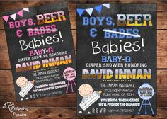 Boys Beer & Babies Diaper Shower Invitation by ReigningParties