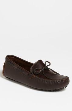Men's Minnetonka Leather Driving Shoe Dark Brown Lariat 7 M