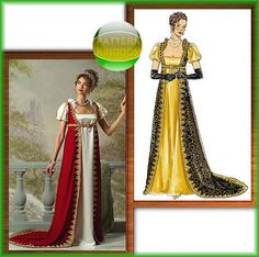 Butterick 4890 Napoleonic Josephine Gown/Empire Dress Patterns