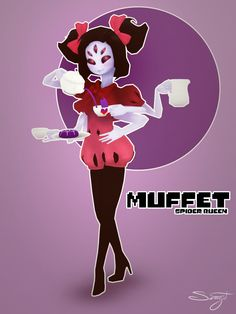 I may be late to the whole Undertale party, but I couldn't stop myself from recreating Muffet in 3D. She's just so adorable :3  Major inspiration for the model itself was: http://www.deviantart.com/art/Muffet-Pours-you-a-cup-of-Spiders-604892453
