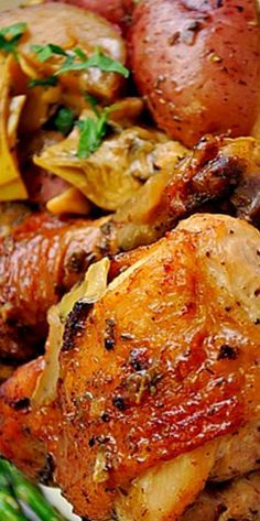 by Giada from food network Chicken Vesuvio - crispy chicken with potatoes cooked…
